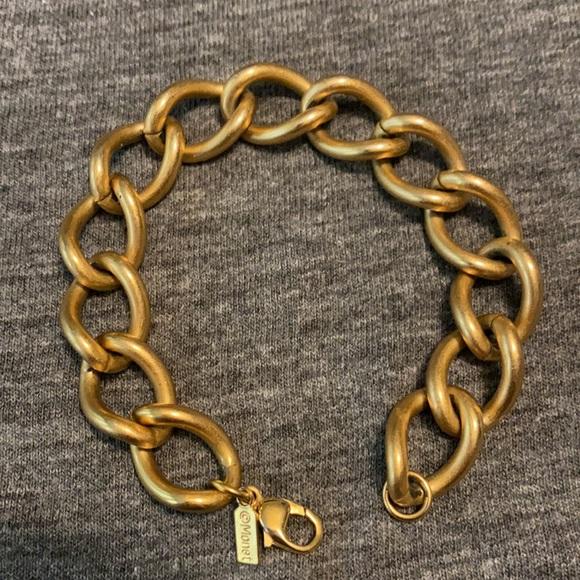 Monet Vintage Matte Gold Charm/Chain Bracelet